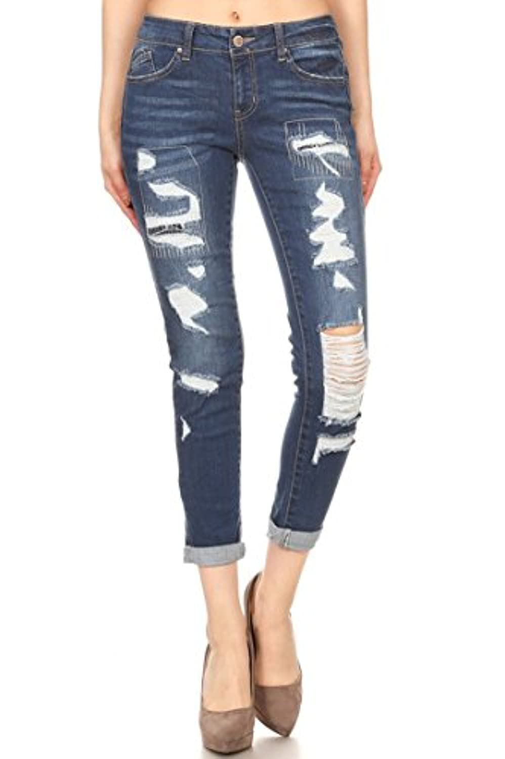 wax jean Women's Distressed Slim Fit Skinny Jeans Size 0 to 13