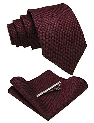 JEMYGINS Krawatte Herren Klassische Baumwoll Karierte Mehrfarbige braun Inklusive Einstecktuch Krawattenklammer Set