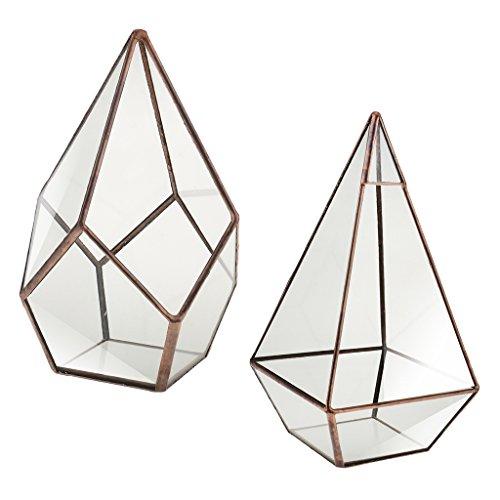 Sharplace 2 pcs Mignon Terrarium Verre Transparent Géométrique Pot de Fleurs Miniature Artistique Bijoux Décor Photographie