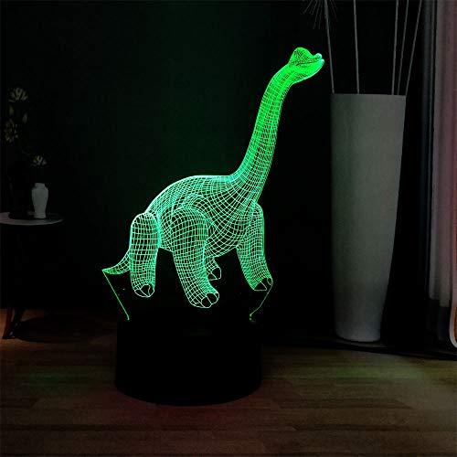 sanzangtang luz Nocturna led-3D-seven Colores-Parque Remoto Lindo vívido Dinosaurio gradiente luz Novela decoración atmósfera lámpara de Mesa niños