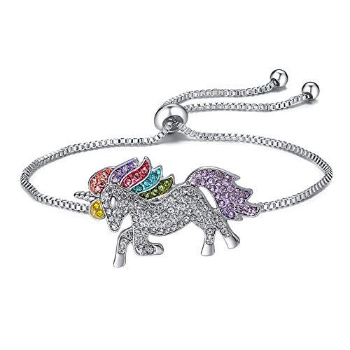 Anbon Einstellbar Armbänder mit Einhorn Anhänger Ketten, Damen-Armband, Kinder Mädchen Armschmuck Unicorn Armreifen (Silber)