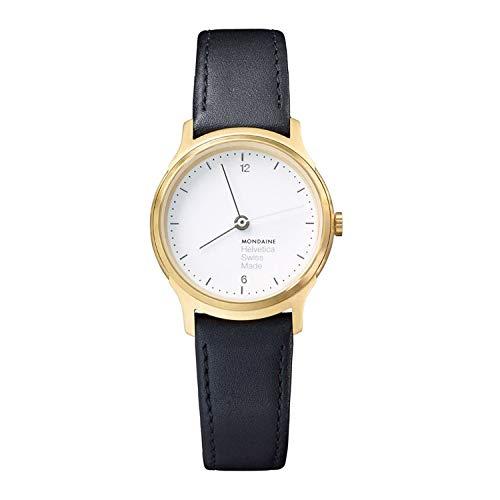 Mondaine Helvetica No1 Light dameshorloge, IP goud gecoate behuizing met zwart lederen armband, saffierglas