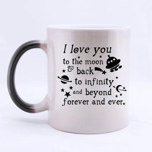 Regalo del día de San Valentín romántico–I Love You a la luna y parte posterior taza de cambio de color tazas de café taza, perfecto regalo para los amantes de los/pareja/esposa/marido/NOVIA/novio