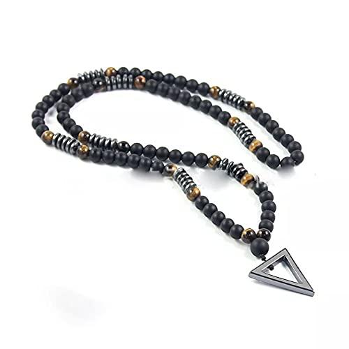 SOTUVO Collar Colgante de triángulo geométrico Collares con Cuentas de ágata Negra Mate para Hombres, niño, Piedra Natural, Cuello de Moda