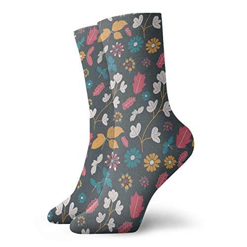 Kevin-Shop Blätter Blumen farbige Kompressionsstrümpfe Fun Casual Crew Socken, dünne Socken Kurzer Knöchel für Outdoor, Athletic Moisture Wicking