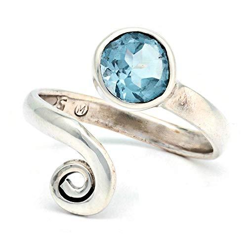 Anello argento 925 con topazio azzurro verstellbar (No: MRI 102)