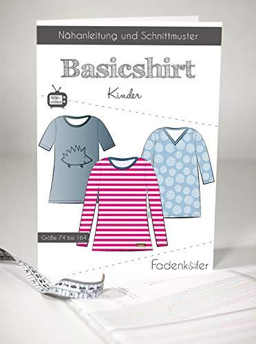 Schnittmuster Fadenkäfer Basic Shirt Kinder Gr.74 bis 164 Papierschnittmuster