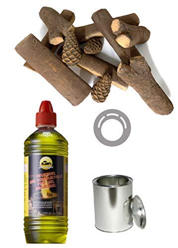 Moritz Starter Set 4 x 1000 ml brandgel + 3x blikken doos 500 ml met deksel + 3x spaarplaat + 1x 11-delige keramische houtset voor brander open haard oven veiligheidsbrander brandpasta