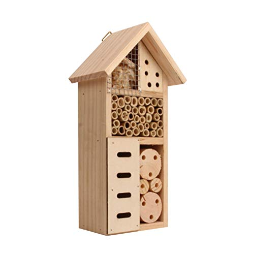 qianele Insect House Wooden Insect Hotel Wooden Bug House Natural Wood Insect House Garden Shelter Bamboo Nesting Habitat For Outdoor Garden Yard Bee Butterfly