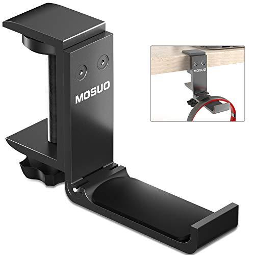 MOSUO Soporte Auriculares, Ajustable Soporte Cascos Aluminio Gancho Universal Headset Stand en Mesa para Auriculares Bluetooth, Auriculares Gaming, Sony, Bose, Sennheiser, Negro