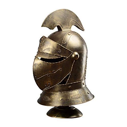 Jay Templar Crusader Knight Armor Helmet Lámpara de Mesa/Medieval European Closed Helmet Desk Light, Retro Interior Loft Dormitorio Lámpara de Noche