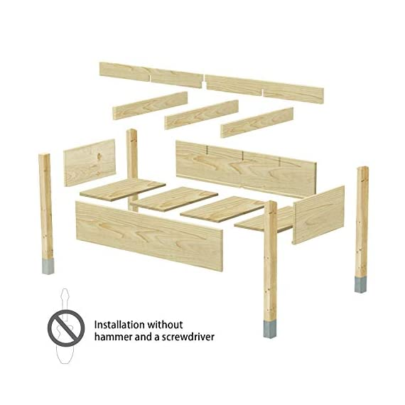 """MIXC Raised Garden Bed, Fir Wooden Planter Boxes for Outdoor Plants, Elevated Standing Planter with Waterproof Legs… 6 【Weather Treated Fir Wood】MIXC raised garden beds is made of untreated fir wood, which resists warping and splitting over time better than cedar. Overall Dimension: 46""""(L) X 21.6""""(W) X 30""""(H).The depth of the planter raised bed is 8.26 inches deep,that can be worked for tomato & carrots & any vegetable flower. 【Drainage Holes & Inner Liner】Four drainage holes are convenient to drain out excess water. Besides, we also provide a Waterproof PE rubber membrane(67""""*55"""") for you to DIY. The liner helps to keep soil and moisture from rotting the wood. 【Easy to Assemble But Sturdy】With complimentary installation guide, you can put this Planter Box together was less than 10 min without hammer and a screwdriver. The joints are dovetailed, which designed for better load-bearing structure. It has a load capacity of up to 385LBS that far heavier than other products."""