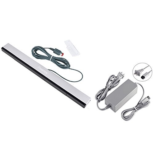 Everydaysource Compatible With Nintendo Wii US AC Power Charge Adapter + Black Wired Sensor Bar