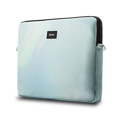b-Kover Funda Protectora para Portátil 13 Pulgadas Cuero Vegano, Impermeable Hecha A Mano, Bolso con Correa Bandolera Apple MacBook Pro 13/Acer/HP/ASUS/DELL/Lenovo/(Azul)