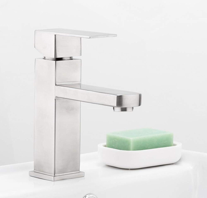 Zlxzlx Gebürstet Bad Becken Wasserhahn Dusche Bad Armaturen Edelstahl Quadrat Waschbecken Mischbatterie Einhand