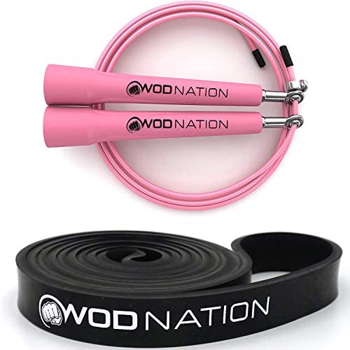 Pink Speed Jump Rope 13 16 Black Resistance Band 30 to 60 Pounds of Resistance product image