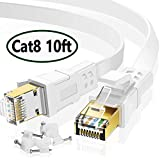 MATEIN Cable Ethernet Cat 8 de 10 pies, Cable Plano de Internet para Juegos, Cable de Red de Alta Velocidad con Clips, Cable LAN Rápido para Computadora Compatible para PS4, Xbox, Enrutador, Blanco