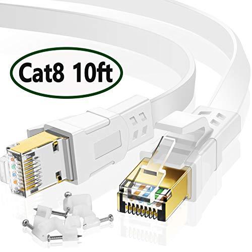 Cat8 Ethernet-Kabel, 3 m, flaches Internet-Kabel für Gaming, High-Speed-Netzwerkkabel mit Clips, schneller Computer-LAN-Draht Kompatibel für PS4, Xbox, Modem, Router, Switch, Koppler, weiß