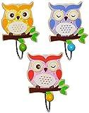 3 Piezas: ' Búho ' - Ganchos para ropa - De Madera + Metal - interiores y - colorido Búhos Animales Aves - niños / Niña & Jóvenes - la pared Guardarropa con 1 Niño Perchero
