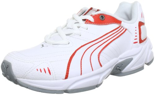 Puma Xenon Trainer Jr 185699 Unisex - Kinder Laufschuhe, Weiß (white-Puma red-aged silver 15), EU 31 (UK 12), (US 13)