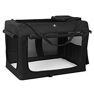 X-ZONE PET 3-Door Folding Soft Dog Crate, Indoor & Outdoor Pet Home, Multiple Sizes and Colors Available (32-Inch, Carbon Black)