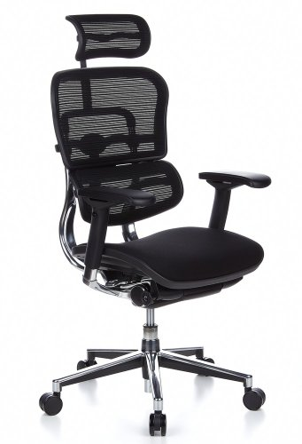 hjh OFFICE 652630 Chefsessel ERGOHUMAN Stoff/Netzrücken Schwarz hochwertiger Bürodrehstuhl mit Vollausstattung