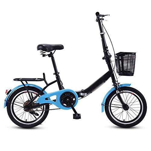 LSHUNYDE Rennwagen-Trainingswagen-Faltrad, 16-Zoll-Leichtmetall-City-Faltrad, Doppelscheibenbremsen, Unisex-6-Gang-Faltrad, Rot, Pink,Blau