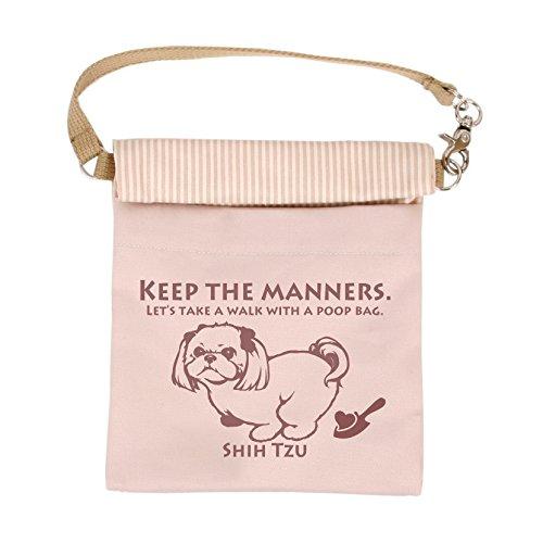 LIP2001 抗菌消臭マナーポーチ (シーズー, ピンク) 犬 ドッグ ペット 消臭 抗菌 光触媒 お散歩 消臭ポーチ ウンチポーチ ウンチ袋 お出かけ グッズ