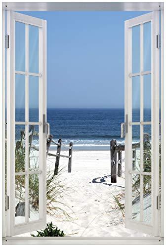 Wallario Garten-Poster Outdoor-Poster mit Fenster-Illusion: Blick auf Strand in Premiumqualität, Größe: 61 x 91,5 cm, für den Außeneinsatz geeignet