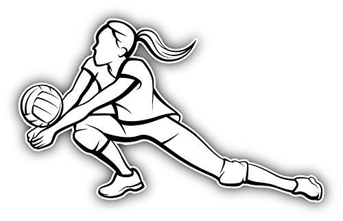 Girl Volleyball Player Silhouette Hochwertigen Auto-Autoaufkleber 12 x 8 cm
