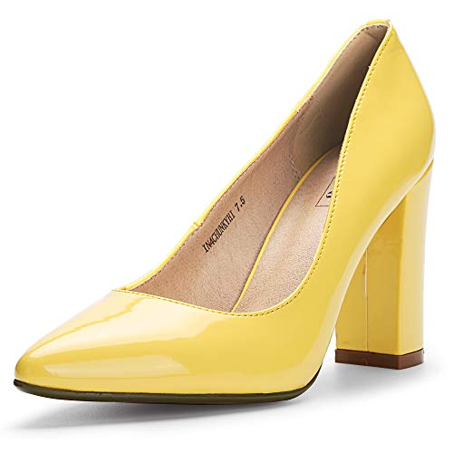 IDIFU Women's IN4 Chunky-HI Block High Heels Closed Pointed Toe Pumps Dress Office Shoes for Women (9 M US, Yellow Patent)