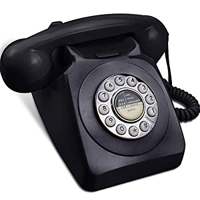 Rotary Phone for Landline, IRISVO Retro Design Corded Landline Telephones Old Fashion Phones for Home with Push Button Technology