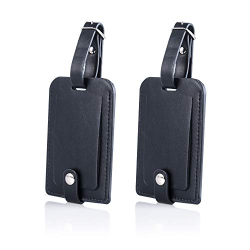 GZ Genuine Leather Luggage Bag Tags Suitcase Travel Tags with Full Privacy Cover (Black 2 pcs Set)
