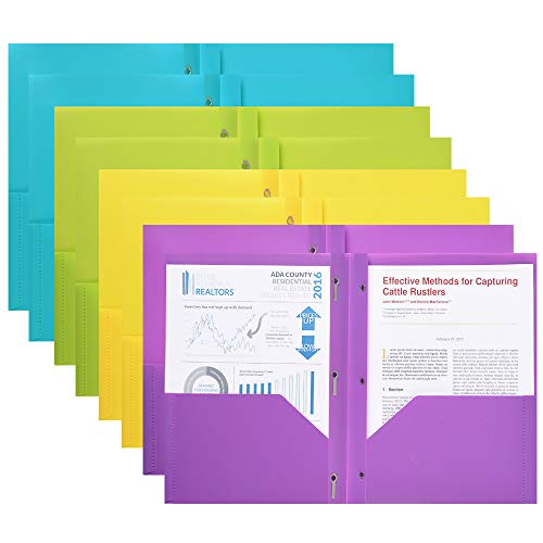 Plastic Folders 8 Pack Multicolor 2 Pocket Folders with 3 prongs and Card Holder Letter Size for School Work and Home Plastic-Folders-with-Pockets