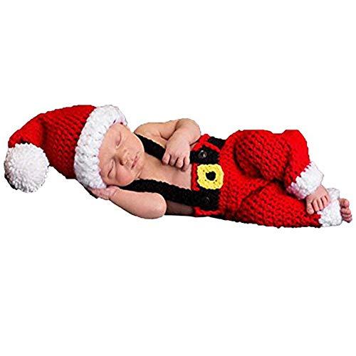xwanli Baby Neugeborenen Fotografie Requisiten Handgemachte Häkeln Strickmütze Overalls Latzhose Weihnachten Weihnachtsmann Rot Outfit Kostüm
