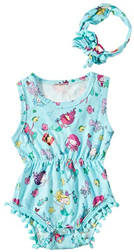 Leapparel Colorfull Summer Onesie Outfit Baby Girl Romper Round Neck Jumpsuit Bodysuit and Headband with Starfish Pattern,Blue Mermaid,6-12 Months (Size 90)