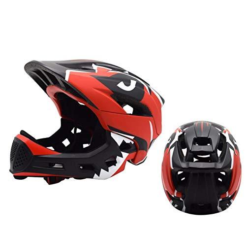 YYSDH 2020 Fahrradhelm 50-57 cm Kinder Mundschutz Fahrradhelm Kinder-Fahrradhelm Mit Doppeltem Verwendungszweck,Rot