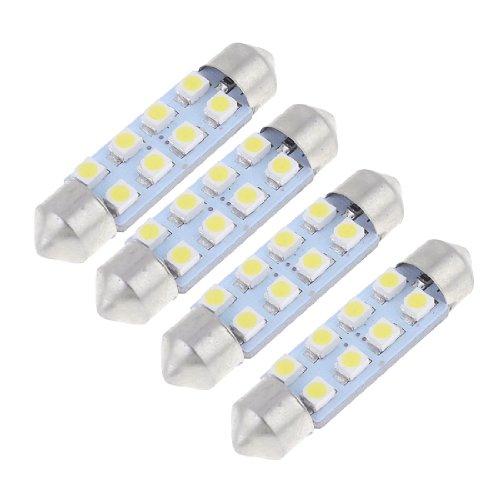 sourcingmap 4 x 41mm 8-LED 3528 Blanc SMD Dôme de Feston Voiture Intérieure Lumière de Ampoule 212-2 560
