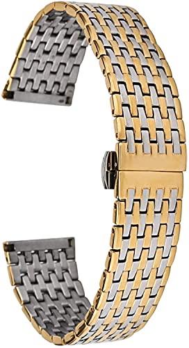 Chtom Correa de Acero Inoxidable, 20/22 MM Banda de Reloj de Acero Inoxidable de Oro Plateado Banda de Mariposa Hebilla de Pulsera Reloj de reemplazo Correas de Reloj (Color : 20mm, Size : -)