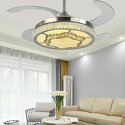 Ventilador de techo LED de cristal de 42 pulgadas, regulable, lámpara de dormitorio + mando a distancia