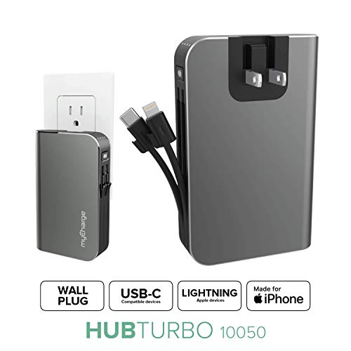 myCharge Portable Charger USB C Power Bank 10050mAh / 18W Fast Charging Hub Built In Cable & Wall Plug Phone External Battery Pack (iPhone Lightning for Apple + Type C Cord for Samsung Galaxy Android)