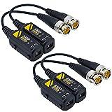 Greluma 2 Pares 8MP/4K transmisor transceptor pasivo HD BNC de video Balun a través de cable UTP RJ45 Conectores de cable AHD/TVI/CVI/CVBS para cámaras de seguridad CCTV 720P/960P/1080P/3/4/5/8MP