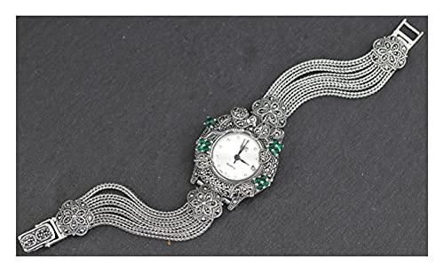 CHXISHOP Reloj Retro de Plata esterlina para Mujer 925 Silver Jewelry Quartz Movimiento Retro Inlaid Emerald Watch Charm Bracelet Watch White-M