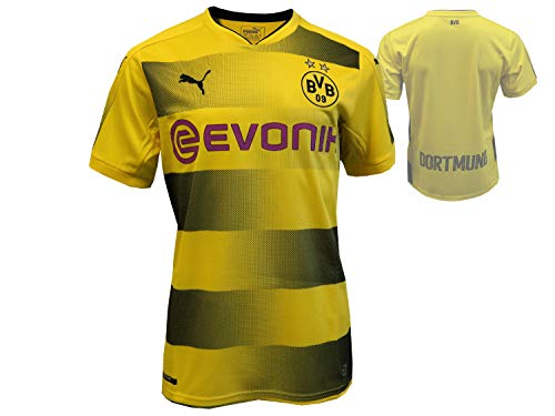 PUMA Erwachsene BVB Home Replica with Sponsor Logo Shirt, Cyber Yellow Black, M