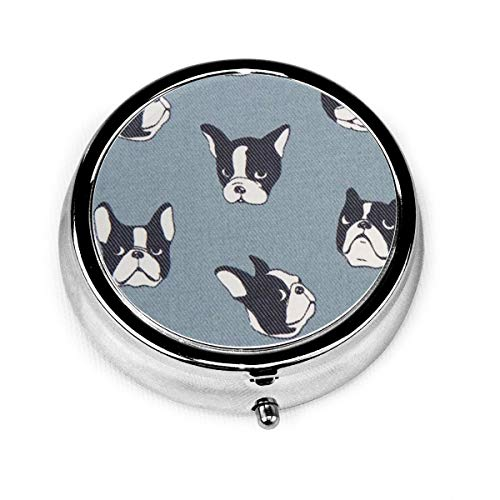 GRTING Blue Grey French Bulldog Pill Box Portable Pill Organizer Case Small Medicine Case Excellent Travel Case Holder for Purse Or Pocket