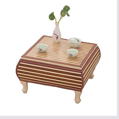 Tables Basse De Baie Vitrée en Rotin De Rangement for La Maison Basse for Lit Basse en Tatami en Bois Massif Basses (Color : Brown, Size : 60 * 60 * 30cm)