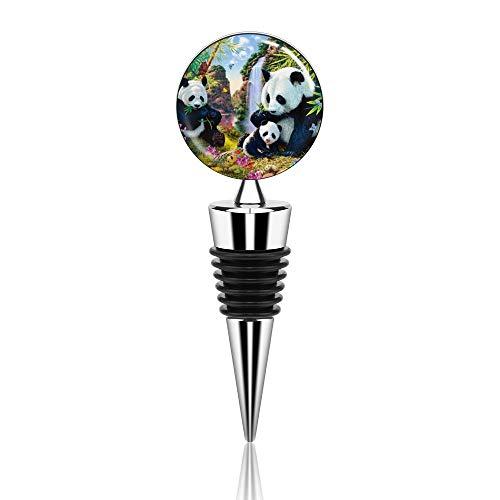Weinflaschenverschluss Panda Bambus Blumen Wein Versiegelung Korken für Wein Champagner Bier Sammlung mit luftdichter Gummidichtung Zinklegierung