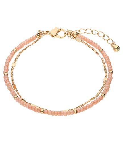 SIX Trendy Statement-Armband mit Glasperlen, Metallperlen für Damen (613-475)
