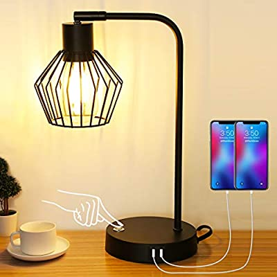 Yoxdalmk Industrial Table Lamp, 3-Way Dimmable Touch Control Vintage Bedside Lamp with Dual USB Ports, Metal Wire Cage Design, Decorative Nightstand Lamp for Bedroom,Living Room(LED Bulb Included)