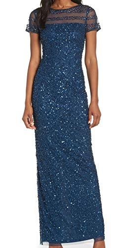 Adrianna Papell Full Beaded Cap Sleeve Illusion Evening Gown Deep Blue 2 (Apparel)